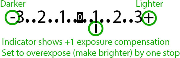 Canon exposure indicator +1 EV