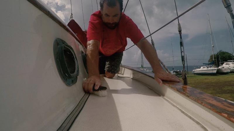 Scrubbing the boat