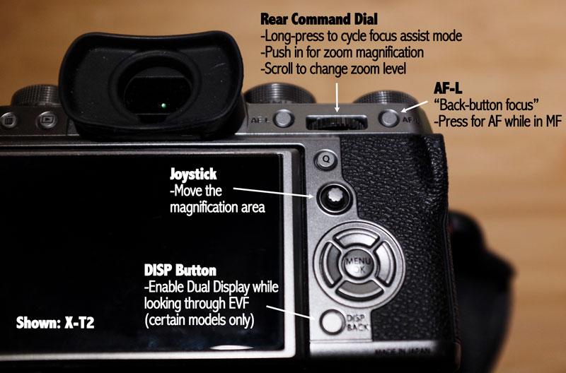 XT2 manual focus assist buttons