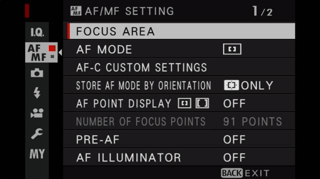 fujifilm af menu settings