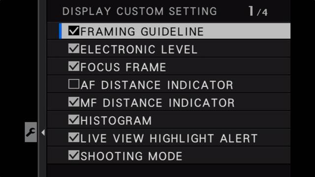 fujifilm display custom setting