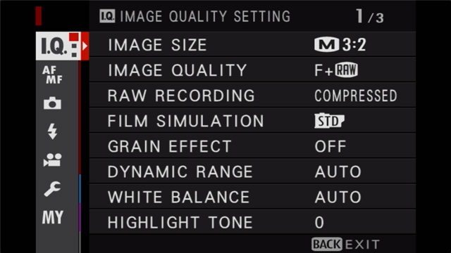 fujifilm image quality menu