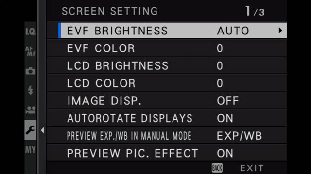 fujifilm screen setting menu