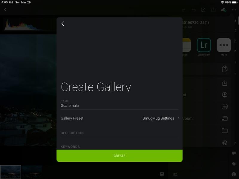 smugmug app and lightroom