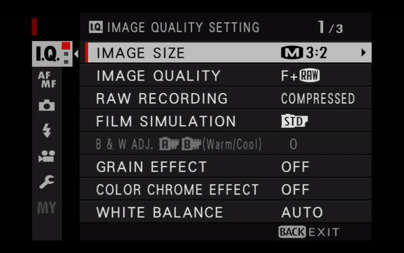 x-t30 image quality menu