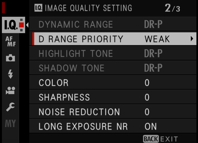 dynamic range priority menu