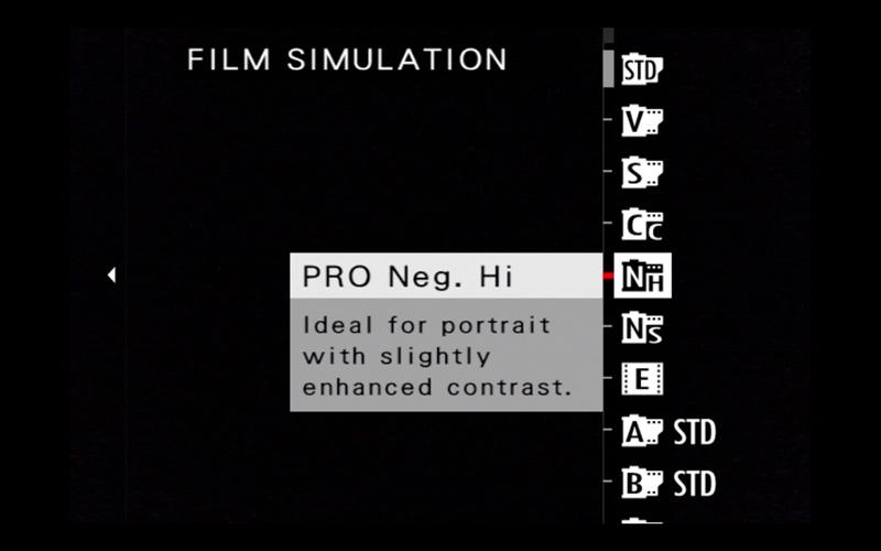 fuji film simulation menu
