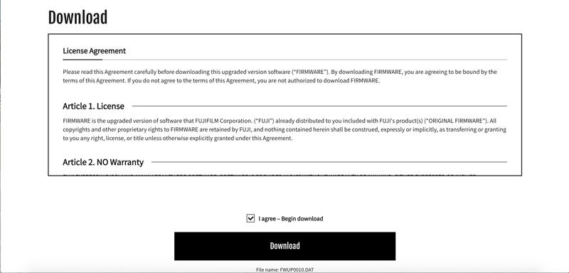 fujifilm firmware download
