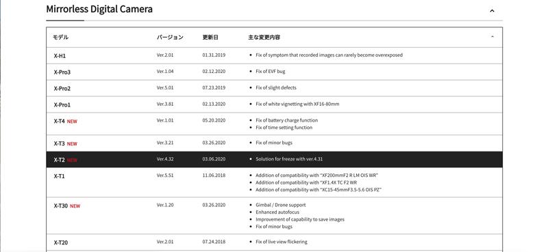 fujifilm firmware update page