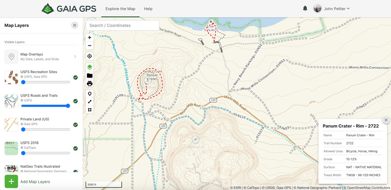 gaia gps trail status