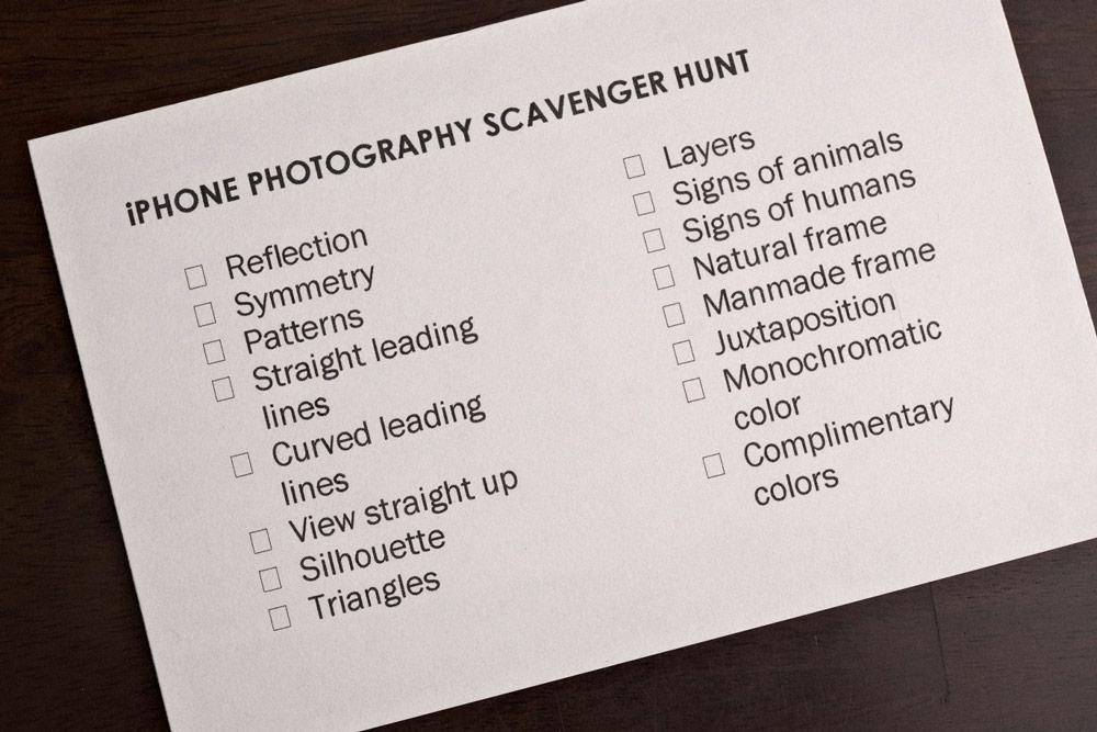 photography scavenger hunt