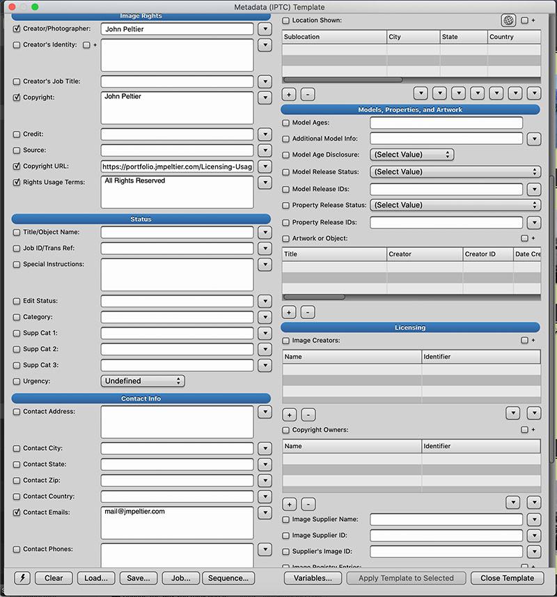 photo mechanic iptc template