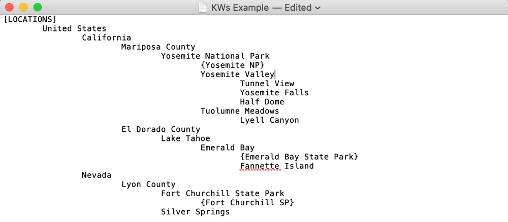 structured keywords text file