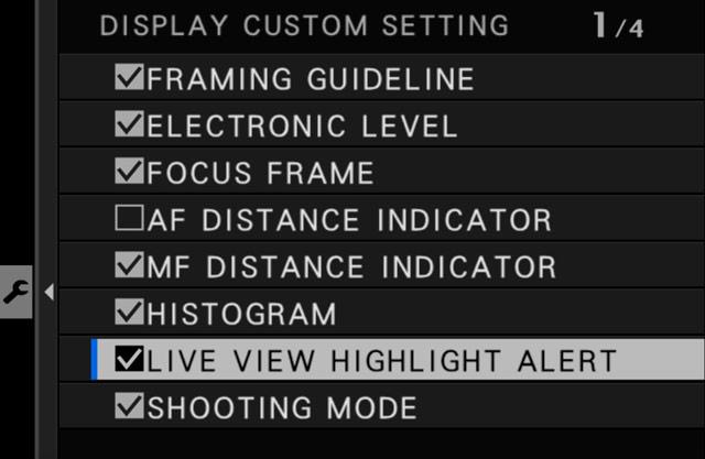 live view highlight alert setting