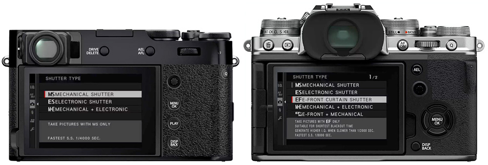 x100v and x-t4 shutter types