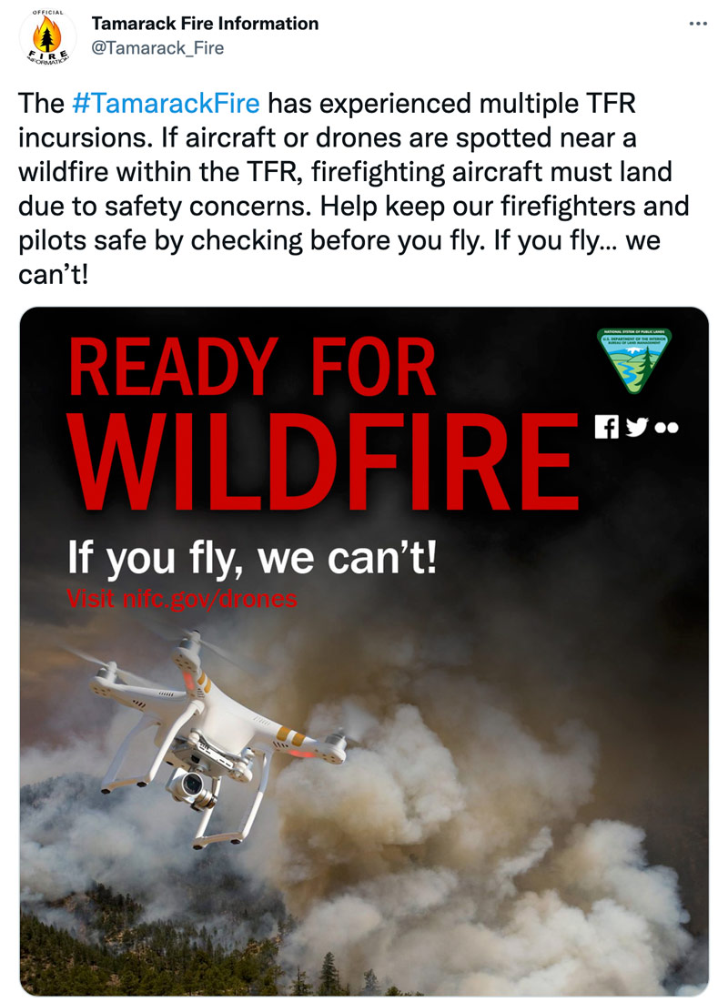 drone wildfire warning