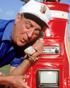 I was trying to think of a picture of a really annoying guy on the phone and another image from Caddyshack came to mind. Why not. (Caddyshack, Warner Bros. 1980).